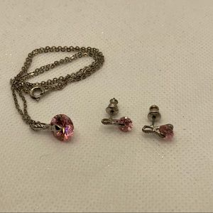🎃 Pink Quartz faceted necklace & earrings, silver